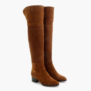 J. Crew | Tan Suede Stacked Over The Knee Boots 11